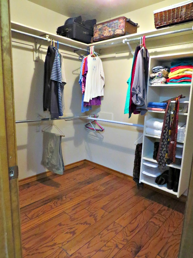 ... Painted The Entire Closet And Installed The Two Storage Shelves. Then  We Were Waiting On The Guys To Come Remove The Carpet And Install The Wood  Floor.