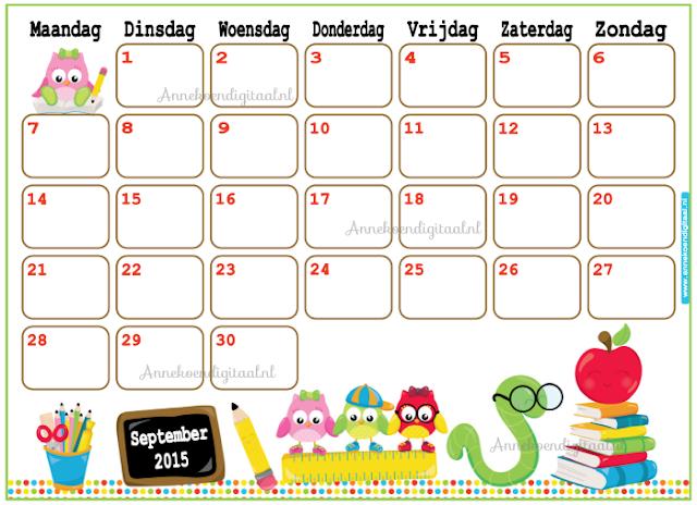 September 2015, september kalender, kalender voor kinderen, kinder kalender, kalender voor school, school kalender