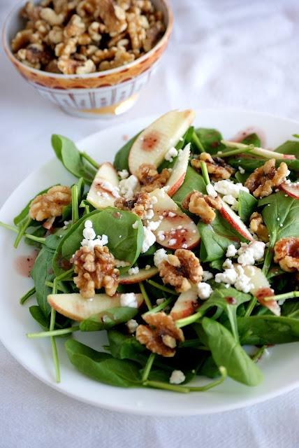spinach, apple, walnut salad