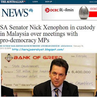 detention of Australian senator Nick Xenophon at the Low Cost Carrier Terminal (LCCT) in Sepang