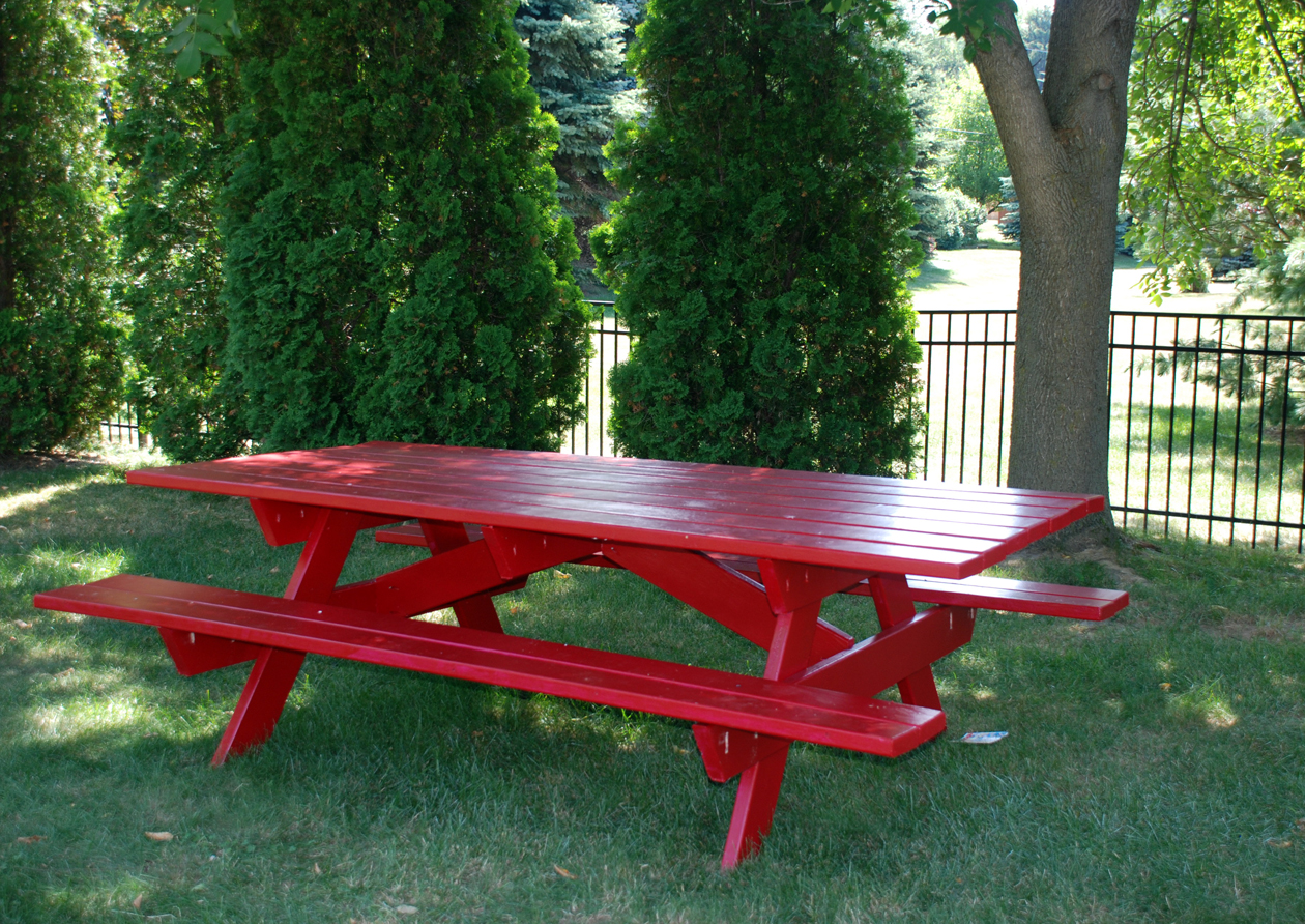 Ove My New Red Picnic Table Made By Mr. B. It Is Eight Feet Long And  Thirty Six Inches Wide. We Used The Free Plans From Ana Whiteu0027s Site, Here,  ...