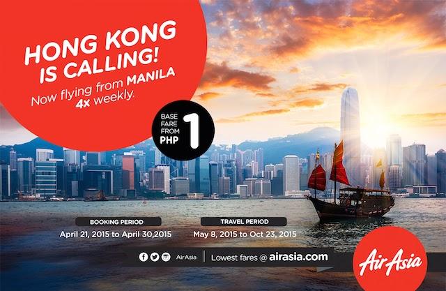 AirAsia P1 Seat Sale for Hong Kong - Manila