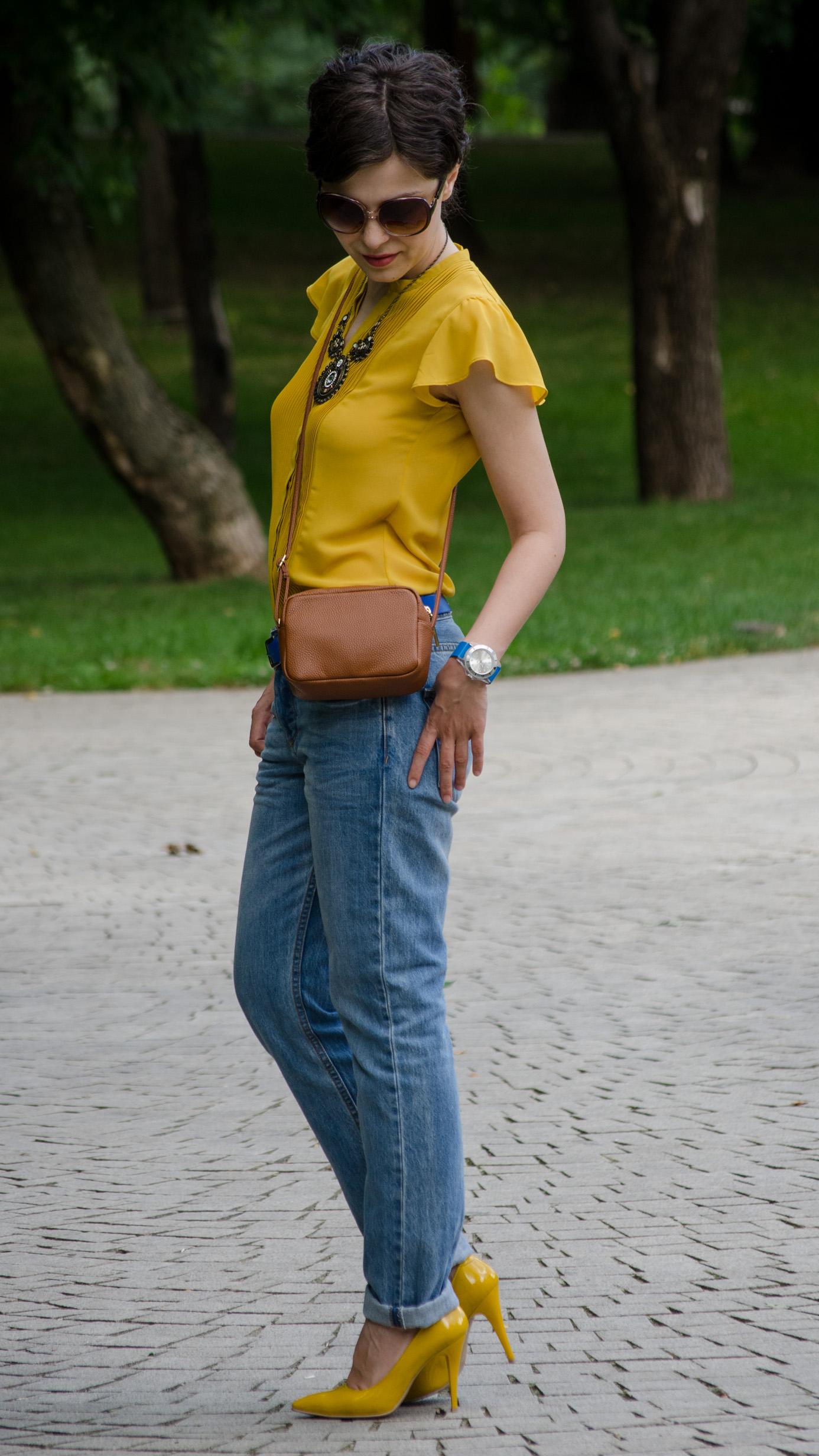 heels mustard boyfriend jeans H&M brown satchel