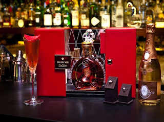 photos of louis xiii diamond jubilee fizz expensive cocktail with diamond souvenir