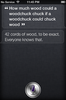 Siri: How much wood can a wood chuck chuck if a woodchuck could chuck wood?
