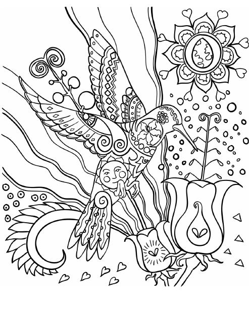 hummingbird coloring page from amazing birds coloring book for adults