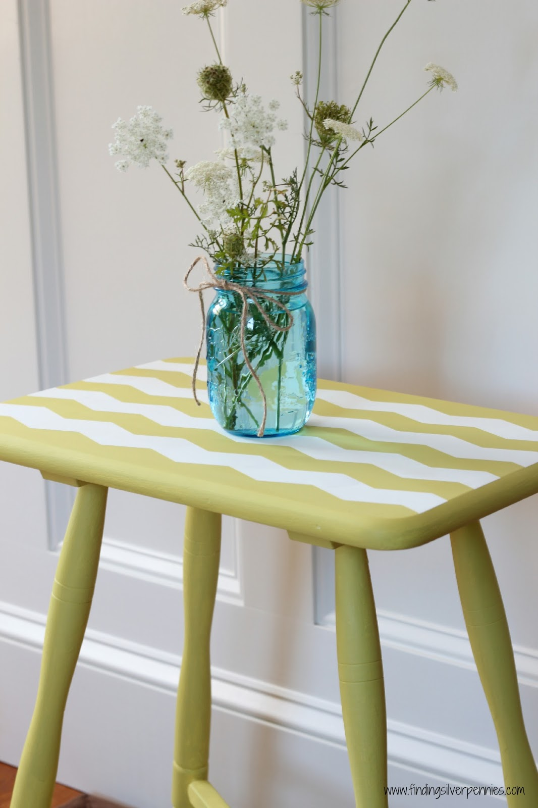 Painting a chevron table finding silver pennies for Yellow painted table