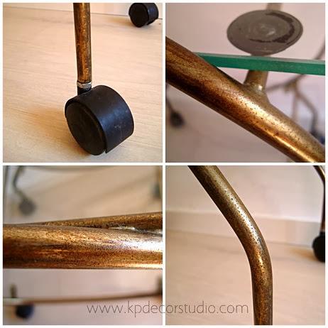 Venta de mesas auxiliares antiguas, mesitas minibar vintage, comprar mesas doradas de metal