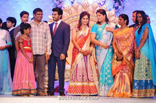 Gunashekhar along with his family, Ram Charan and Upasana, Shobhana - (21) - Ram Charan Teja's Upasana Kamineni Reception Pics
