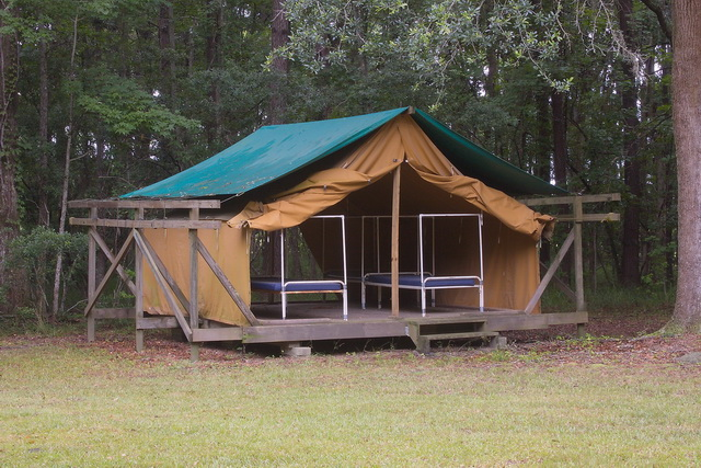 The typical tent with cots framed for mosquito netting -- Girl Scout Plantation -- Cordesville SC -- July 12 2013 & Pluff Mud Perspectives: Lingering One Last Time at the Girl Scout ...