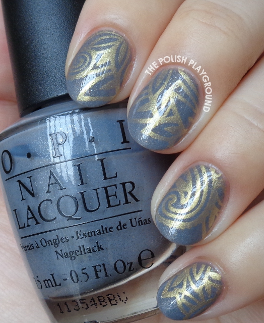 Blue Grey and Gold Stamping Nail Art