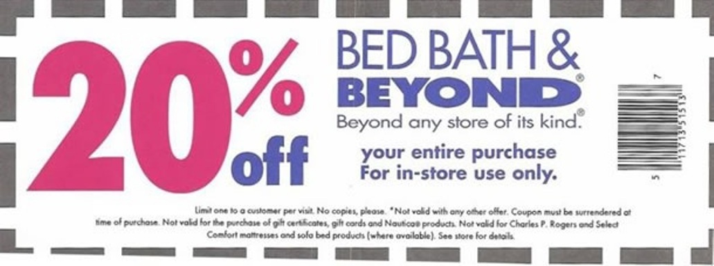 Bed bath and beyond online coupon code 20 off