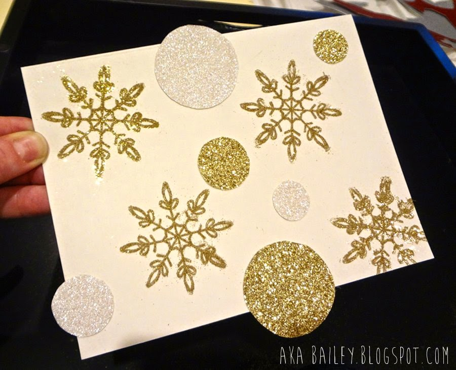Holiday card, gold glitter snowflakes, gold and white glittery circles
