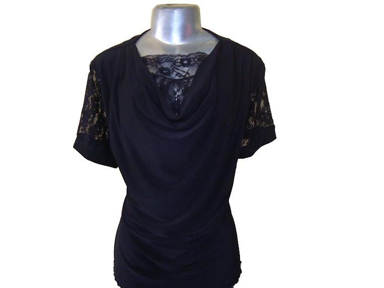 blusa de viscocrepe com renda