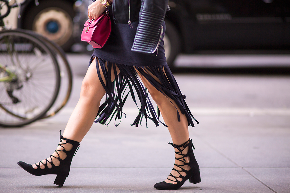 New York Fashion Week 2015 street style- Fringe and lace