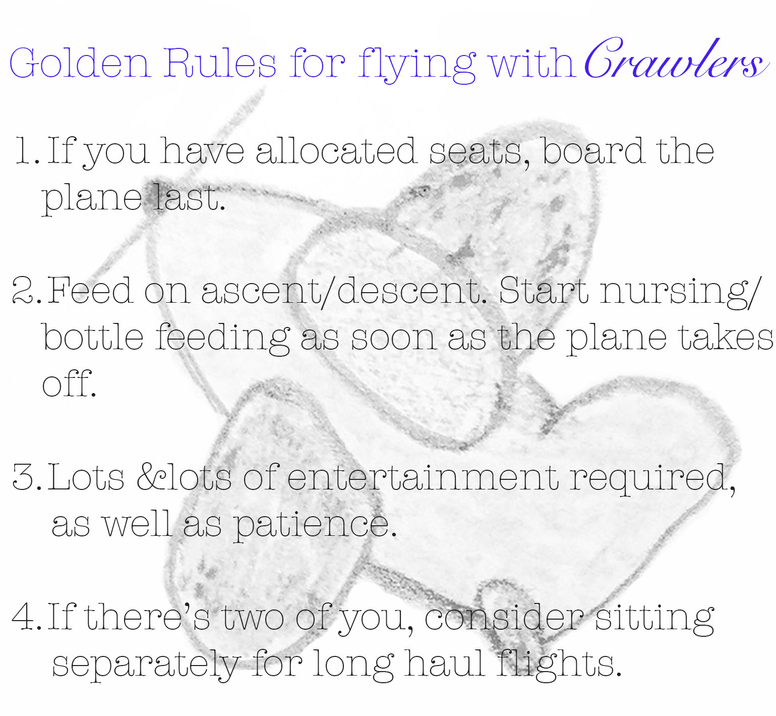 meg-made golden rules for flying with crawlers