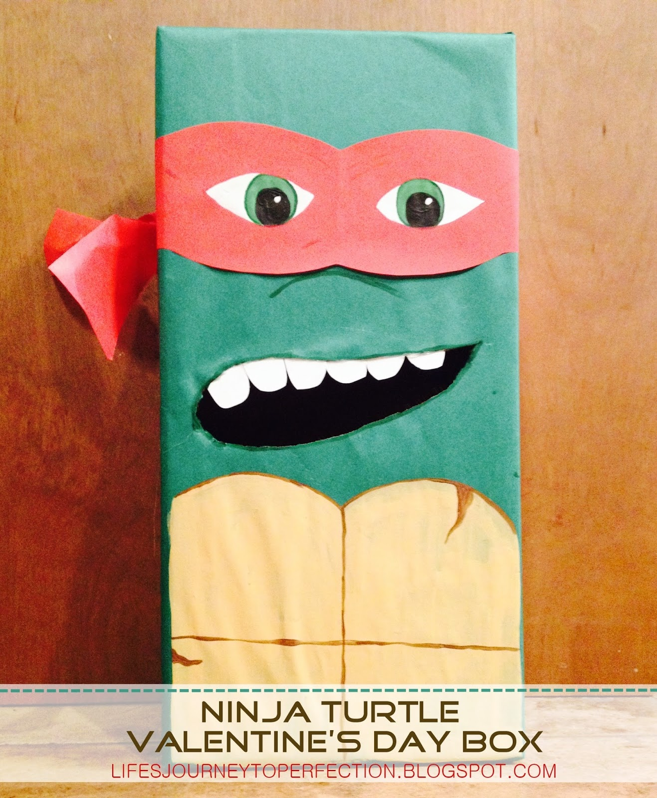 this year i only had to help make one valentines day box it was for my youngest and it was his first we decided on the ninja turtle raphael