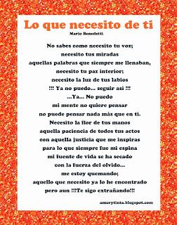 Poema lo que necesito de ti de Mario Benedetti