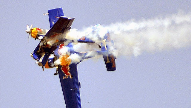 Two planes of Redbull team scraped each other during stunts display at the Aero India show, in Bengaluru.