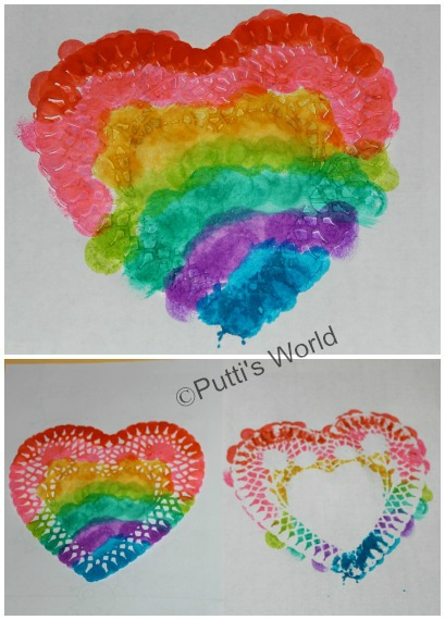 Valentine Kids Craft Painted Doily Hearts
