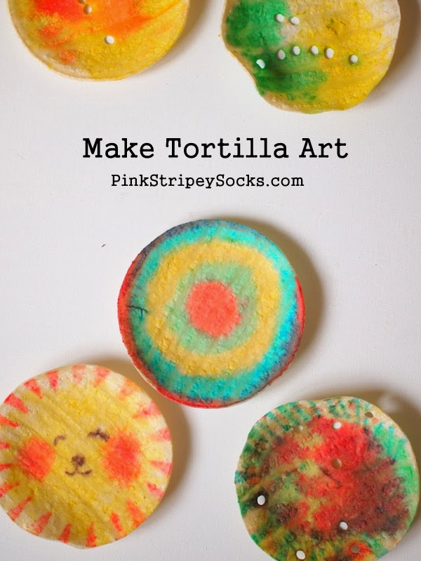 Make tortilla art pink stripey socks for Fun kid food crafts