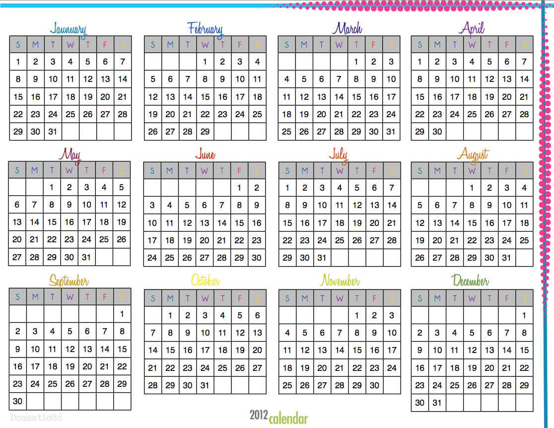 Calendar And Organization : Domestic d march organization calendars