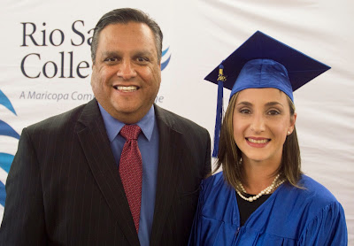 photo of Rio Salado President Chris Bustamante and HSE Graduate and Student Speker Tera Gomez