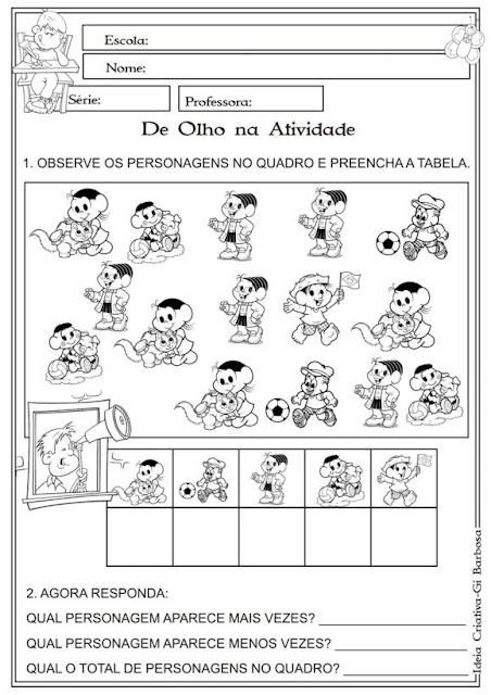 Atividade Matemática 1º e 2º Ano Turma da Mônica