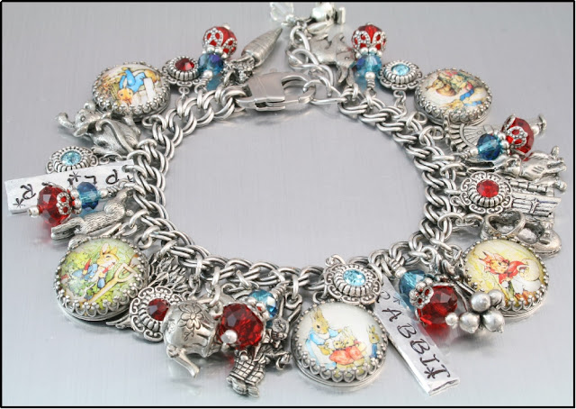 peter rabbit charm bracelet, peter rabbit jewelry, rabbit bracelet, easter jewelry, jewelry for sping