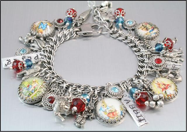 peter rabbit charm bracelet, peter rabbit jewelry, rabbit bracelet, easter jewelry, jewelry for sping