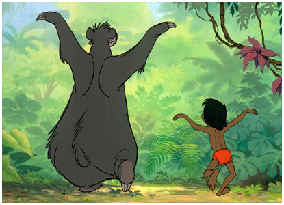 Baloo and Mowgli dancing as seen from the rear in Disney's The Jungle Book  animatedfilmreviews.filminspector.com
