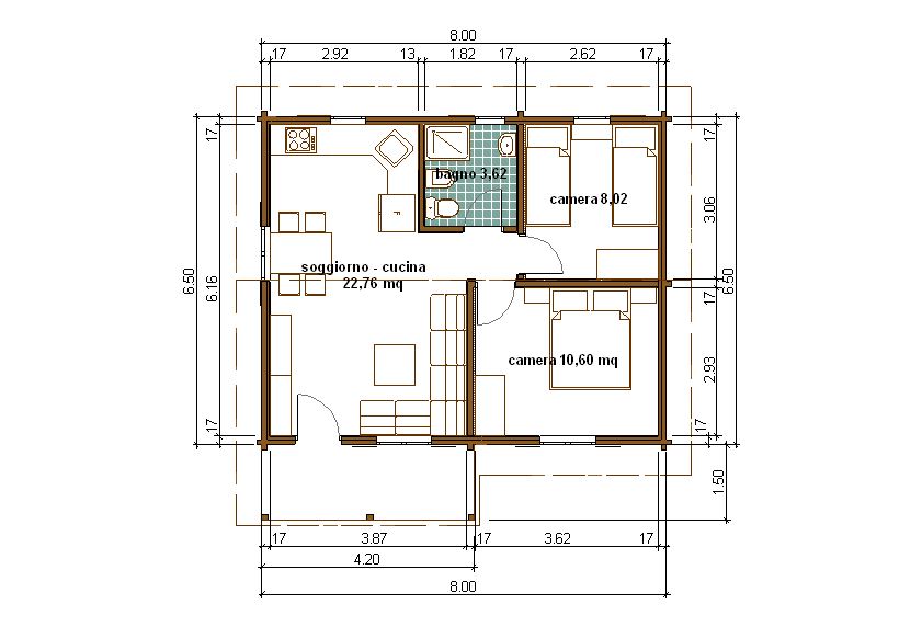 Progetti di case in legno casa 50 mq terrazza coperta 6 mq for Esempi di disegni di planimetrie della casa