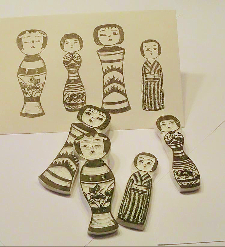 Sparrowfoot stamps kokeshi doll rubber antique style
