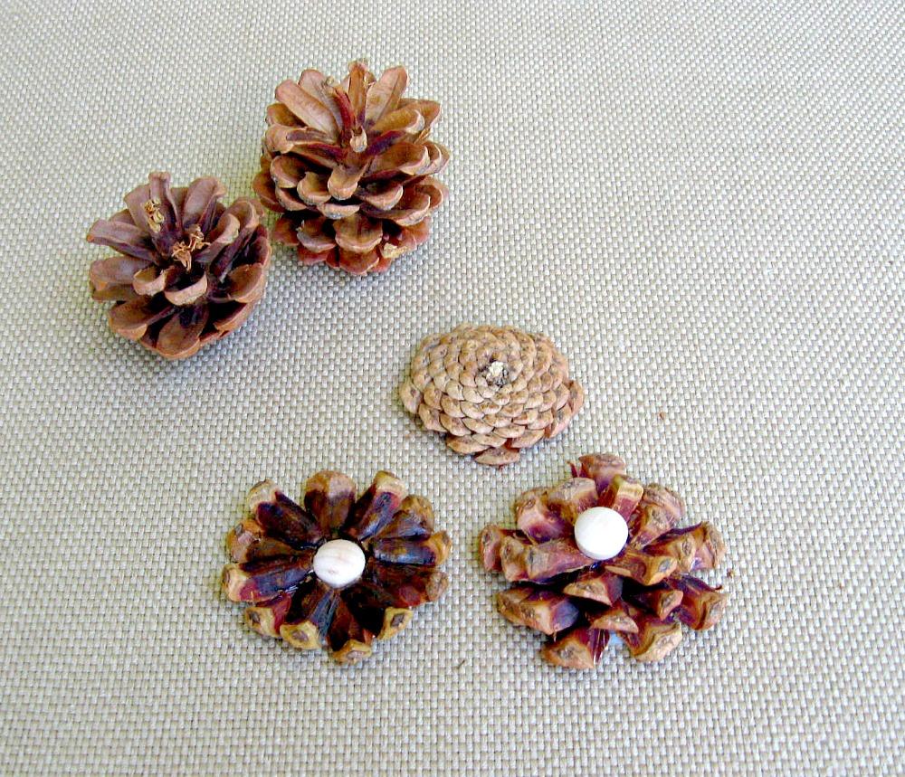 Pine cone flower embellished mason jars finished pine cone flowers mightylinksfo
