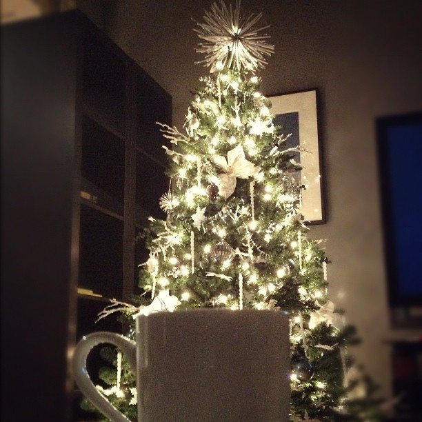 christmas tree and tea cup