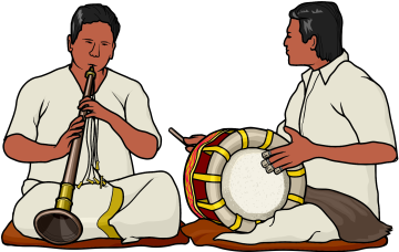 ナーダスワラム(管楽器) と ダビル(太鼓)