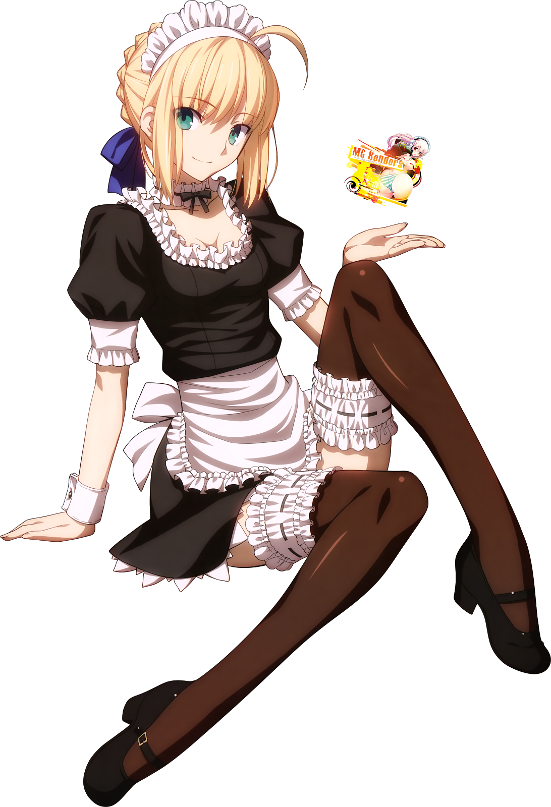 Tags: Anime, Render,  Arturia Pendragon,  Fate series,  Fate stay night,  Maid,  Saber,  PNG, Image, Picture