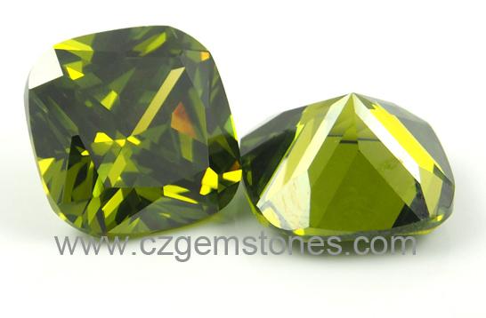 olive cushion cubic zircon stones