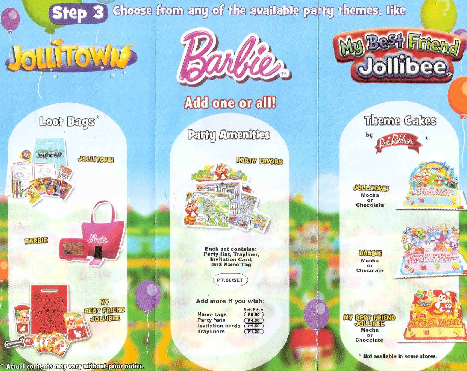 The pinoy informer jollibee party brochure available themes for jollibee party stopboris Gallery