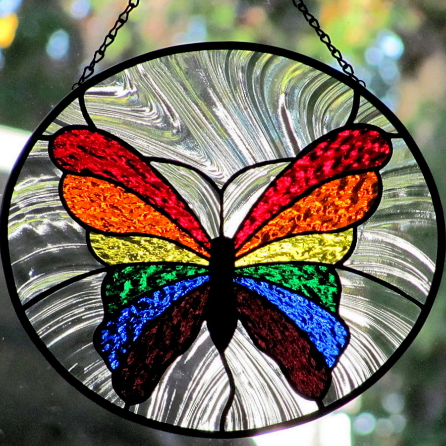 Living glass art stained glass rainbow butterfly new and for Butterfly stained glass craft