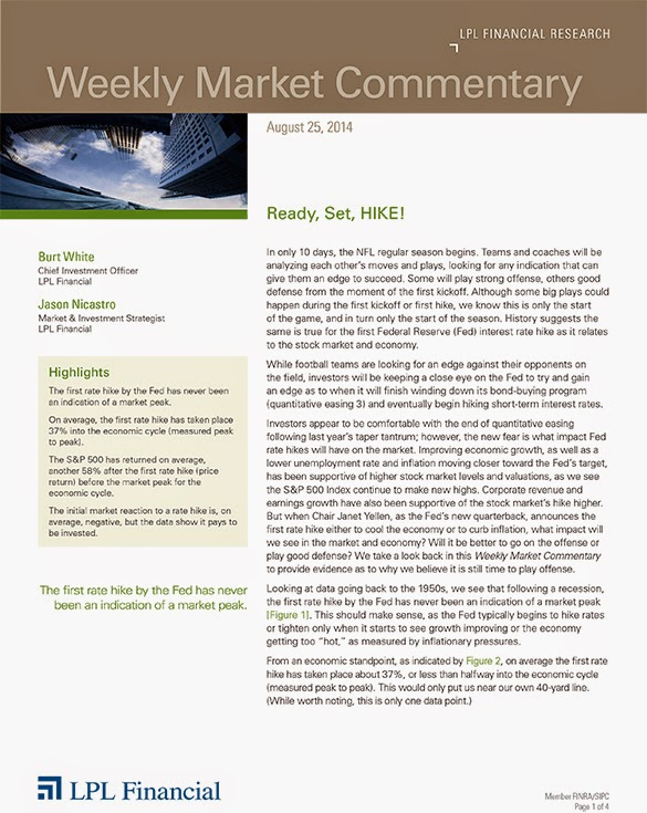 August 25, 2014 - LPL Financial Weekly Market Commentary from Legacy Wealth Planning