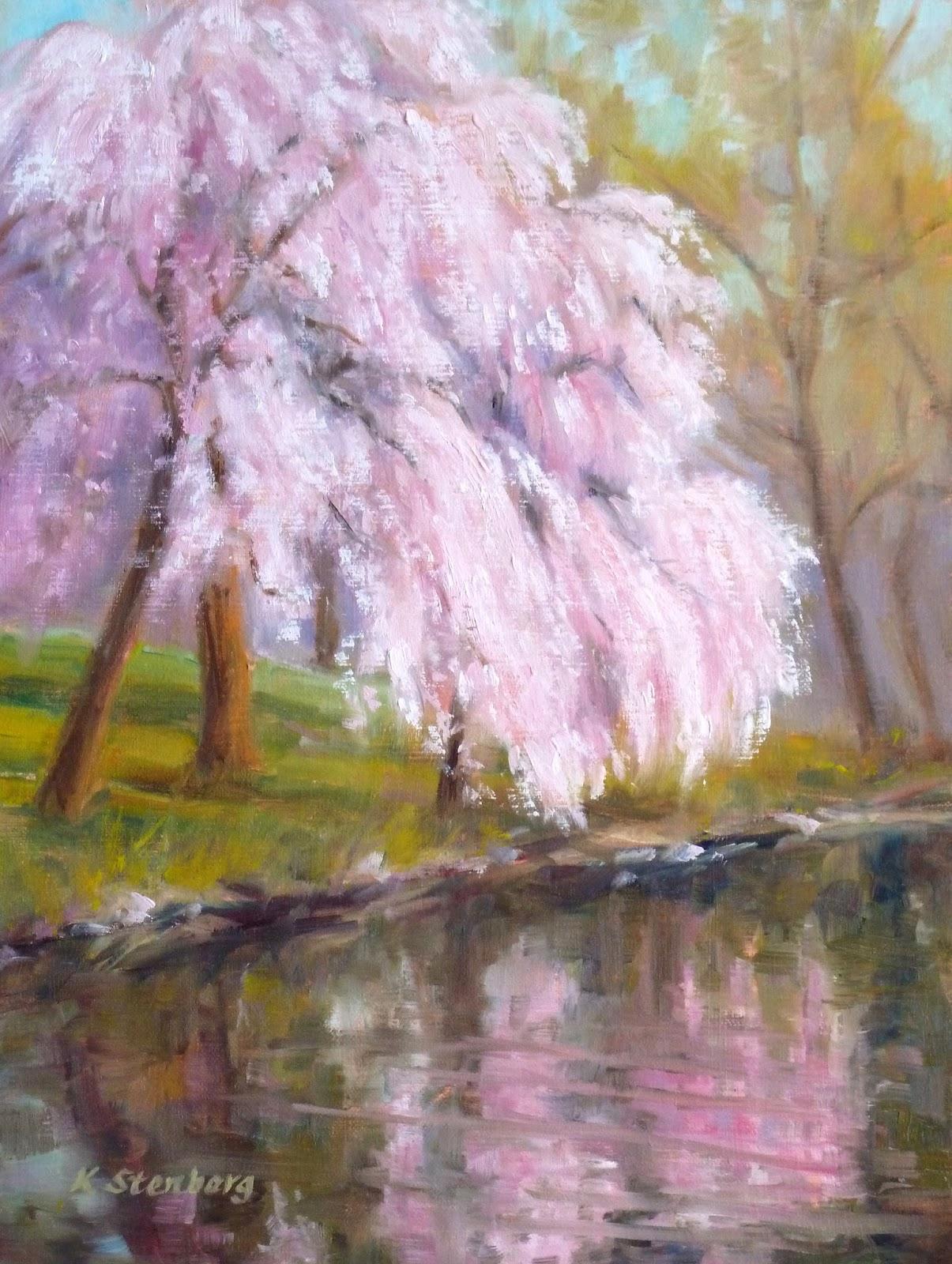 Kim stenberg 39 s painting journal cherry blossom season for Cherry blossom mural works