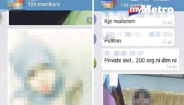 Antara foto gadis melayu bogel sambil bertudung di dalam grup Whatsapp