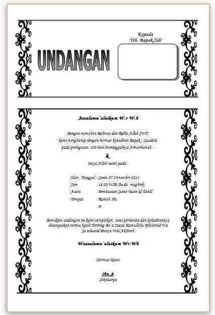 , Aneka Sharing: Contoh Undangan Tahlil 40 Hari, 100 Hari / Haul File
