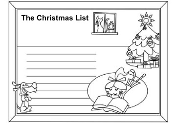 Page 7 - Write out your Christmas to-do or wish list coloring page - for Christmas Activity Coloring Book by Robert Aaron Wiley for Microsoft