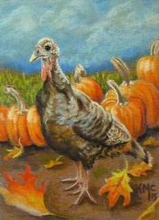 http://www.ebay.com/itm/KMCoriginals-Wild-Turkey-pumpkin-leaves-clouds-fall-original-art-pastel-ACEO-/311445075340?hash=item488392b58c