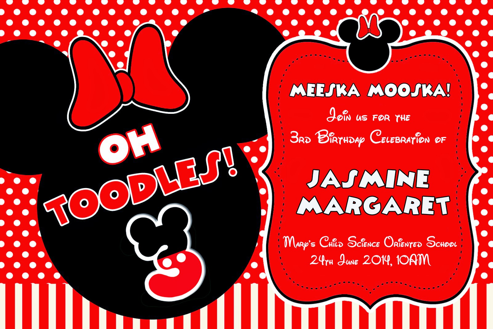 Awesome Minnie Mouse Party Invitation Vignette - Invitations and ...
