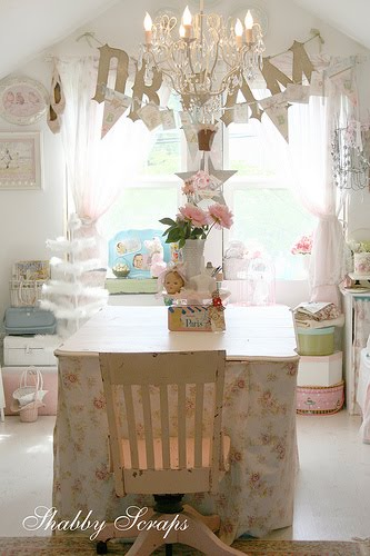 Sweet young journey chandelier 39 s and princess day at the zoo for Shabby chic craft room