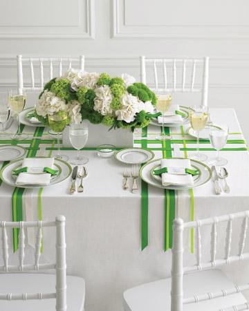Mesa boda verde