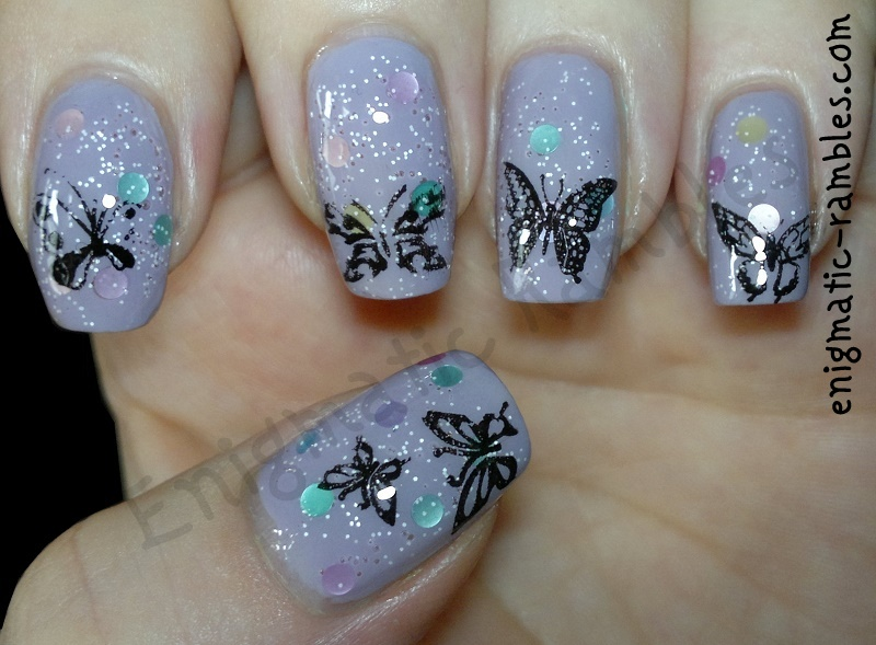 nails-nail-art-stamping-butterflies-butterfly-sally-hansen-Delphinium-Flash-Nails-Bubble-Bath-MoYou-Special-Nail-Polish-Black-M78-M40-222-BM222-konad-M21-M08-bundle-monster